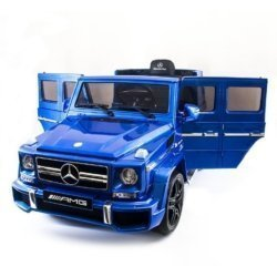 Электромобиль Mercedes-Benz G63 AMG синий (сиденье кожа, колеса резина, пульт, музыка, глянцевая покраска, черные диски)