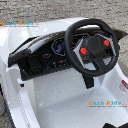 Электромобиль Lykan Hypersport QLS 5188 белый (задний привод, колеса резина, кресло кожа, пульт, музыка)